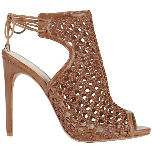 Alexandre Birman Women's Jackye Crochet Leather Brown High Heel... ($795) ❤ liked on Polyvore featuring shoes, sandals, brown, open toe sandals, high heel stilettos, brown leather sandals, leather strap sandals and strappy sandals