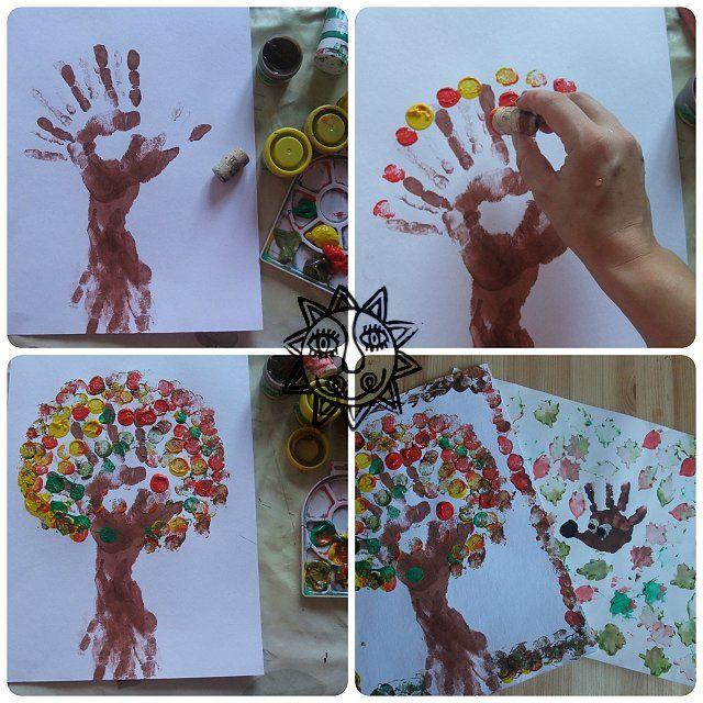 Podzimní strom - otisky rukou a korkovým špuntem, tvoření s dětmi, výtvarné nápady na podzim