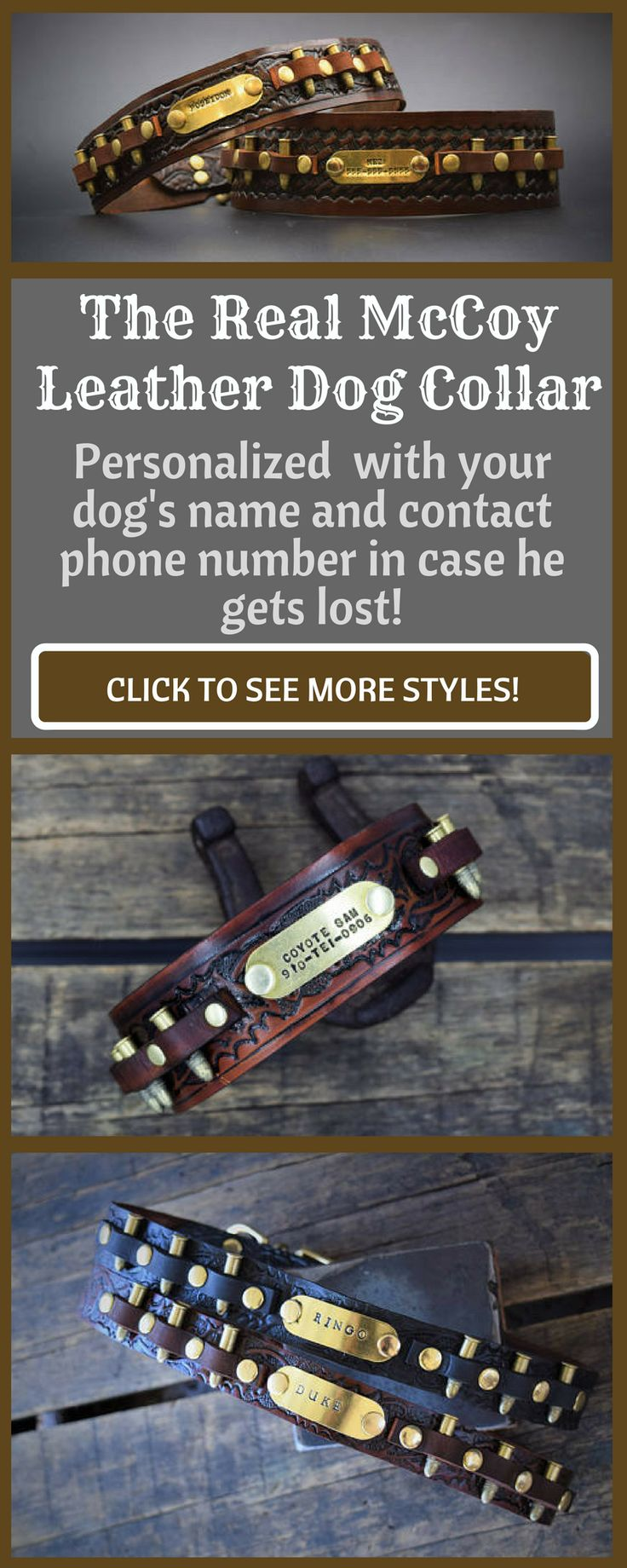 The Real McCoy personalized leather dog collars! These are perfect if your dogs are always breaking off their name tags! Personalize with dog's name and your contact number in case they get lost! #ad #dogcollar #leatherdogcollars #personalizeddogcollars #dogcollarshandmade