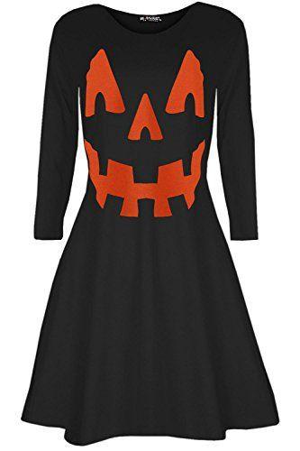 1d9e7c5e2ea Oops Outlet Femmes Citrouille Déguisement Halloween Pull fête évasé Mini  Robe évasée – Citrouille Noir
