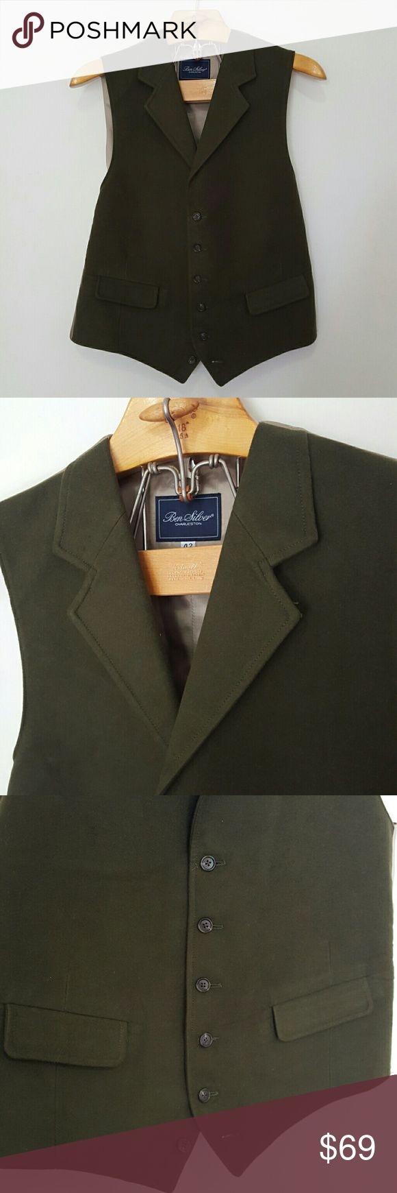 Ben Silver Dark Olive Green Sturdy Formal Vest Ben Silver Dark Green Vest / Beige backing Size: 42 Thick / Sturdy Front material Great Condition!   Offers always welcome!   In an effort to improve - All items now ship same or next business day!  Thanks for shopping!  No trades Ben Silver Jackets & Coats Vests