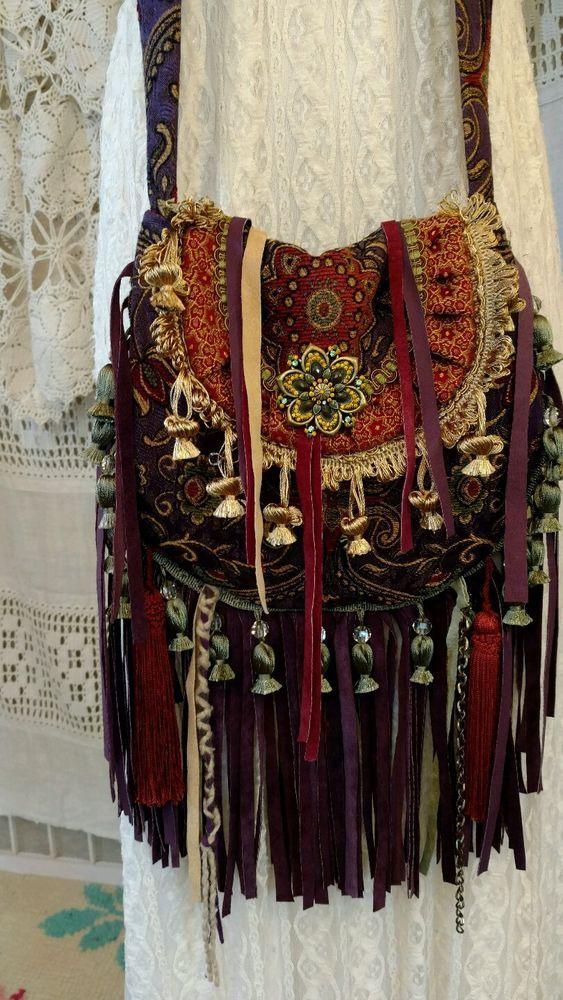 Handmade Boho Festival Cross Body Bag Fabric Leather Fringe Hippie Purse tmyers #Handmade #MessengerCrossBody