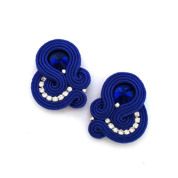 Soutache earrings - cobalt earrings bridesmaids - blue bridesmaids earrings - something blue bridal earrings - wholesale…