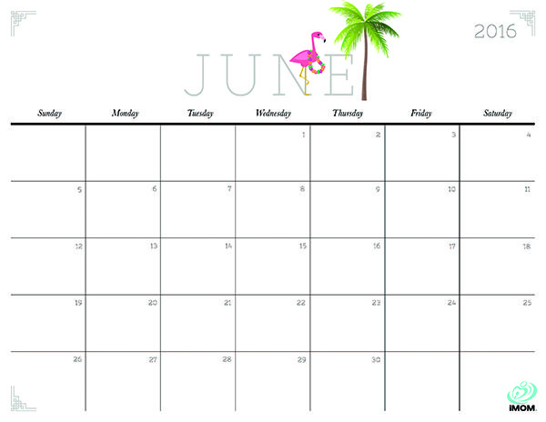 Download iMOM's Free June 2016 printable calendar. Our June design kicks off summer. Celebrate with a limbo and a luau.