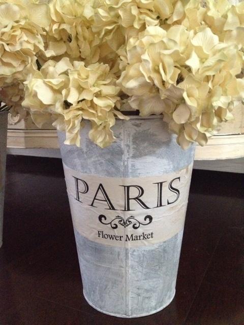 """French Flower Bucket Vintage Galvanized Ephemera Label 12"""" Shabby French Chic"""