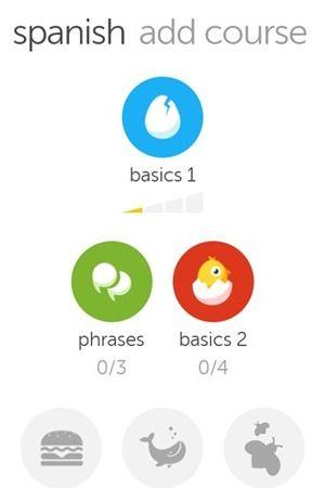 Windows Phone Duolingo Course screen