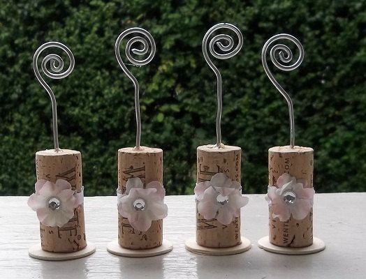 Wine Cork Place Card Holders Or Picture Holders - Set of 4. $8.00, via Etsy.