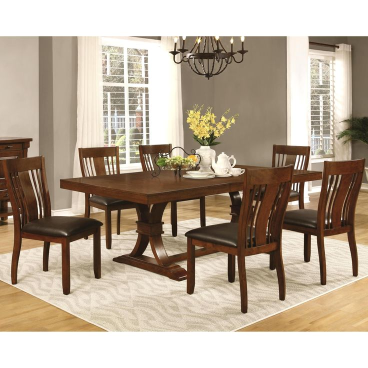 Mission Furniture In Transitional Design: Oxford Transitional Mission Style Dining Set (1 Table, 8