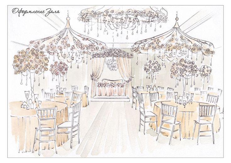 эскизы оформления свадебного зала