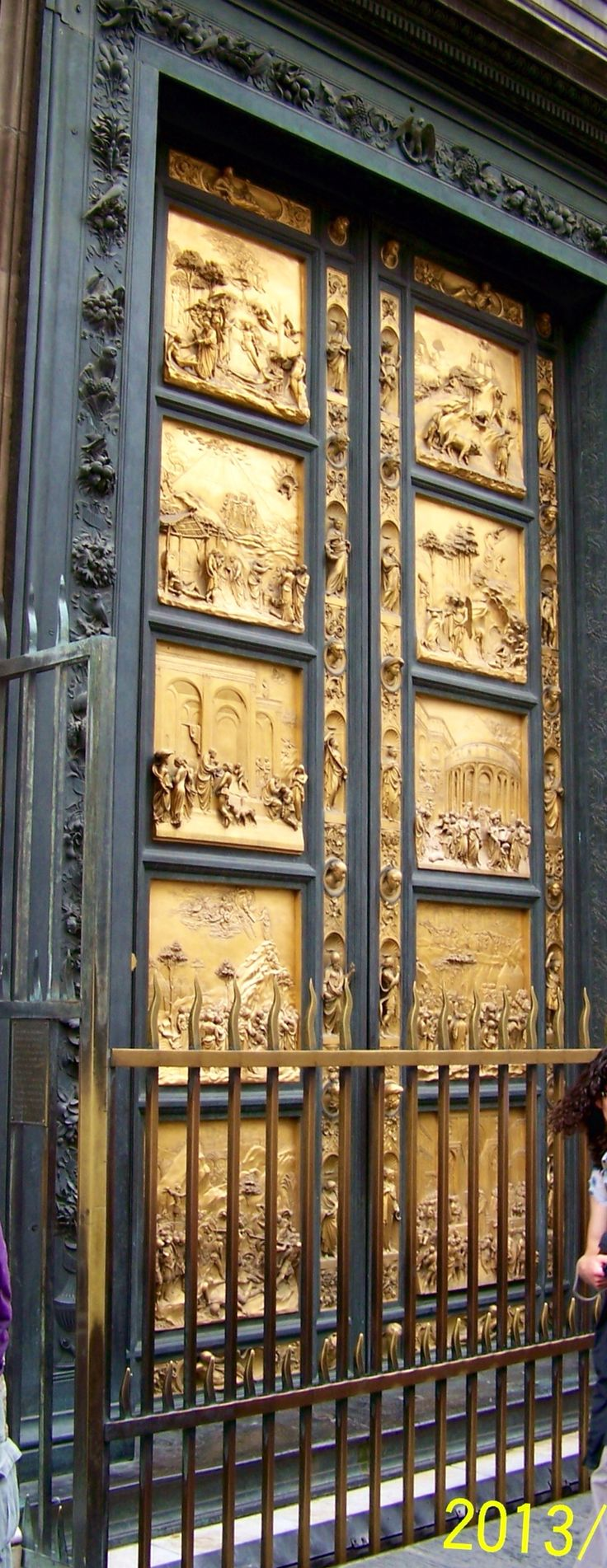 Dubbed Lorenzo Ghiberti's Gates of Paradise by Michelangelo are the bronze doors of the Florence Baptistery also known as St. John's Baptistry, made up of ten panels depicting scenes from the Old Testament.