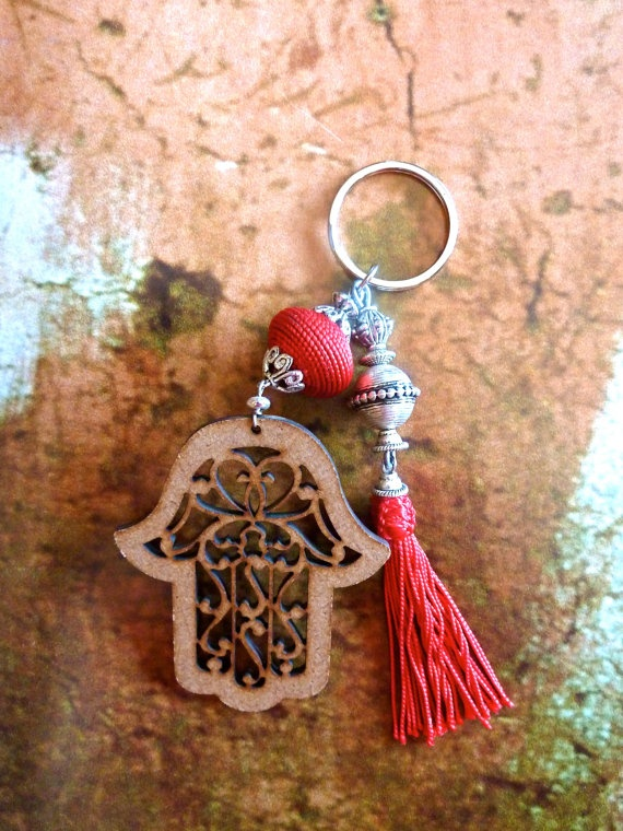 MOROCCAN KEYRING  wood cut hand of Fatima by HEARTtoHEARTart