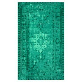 Rug with an over-dyed turquoise palette and Oriental-inspired design. Made in Turkey.   Product: RugConstruction Material: 100% PolyamideColor: TurquoiseFeatures:  Made in TurkeyMachine made Note: Please be aware that actual colors may vary from those shown on your screen. Accent rugs may also not show the entire pattern that the corresponding area rugs have.Cleaning and Care: These rugs can be spot treated with a mild detergent and water. Professional cleaning is recommended if necessary.
