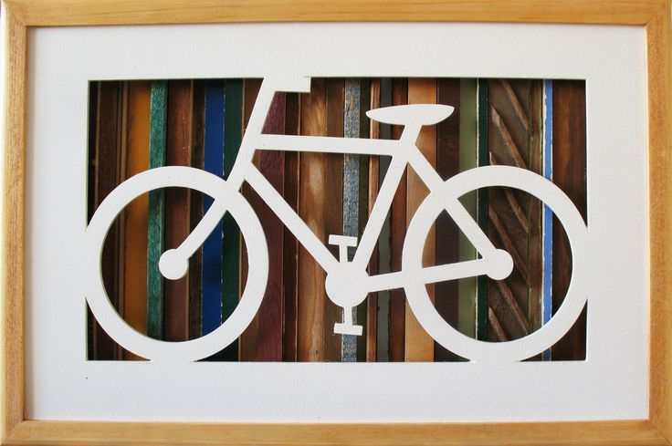 Bicycle silhouette created from recycled wood www.behindthewoods.ca #bicycle #bike #bikesilhouette #recycledwoodart