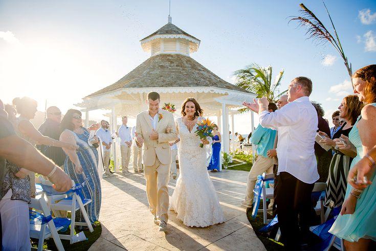 Bride and groom exit gazebo wedding at Moon Palace Jamaica Grande