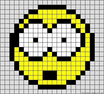 Smiley surprise perler bead pattern