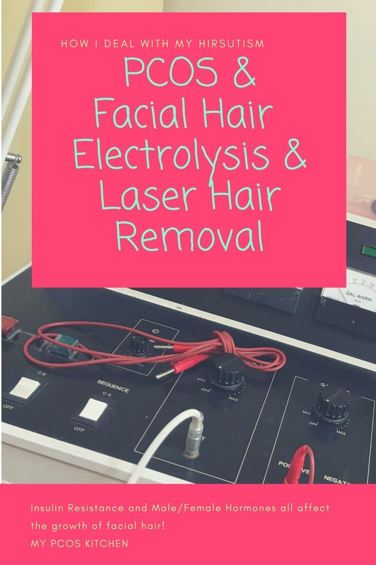 My PCOS Kitchen - PCOS Facial Hair & Electrolysis & Laser Hair Removal - Insulin, Male/Female Hormones all affect female facial hair. By controlling these you can find success in removing unwanted hair permanently with electrolysis #pcos #hirsutism #lowcarb #facialhair via @mypcoskitchen