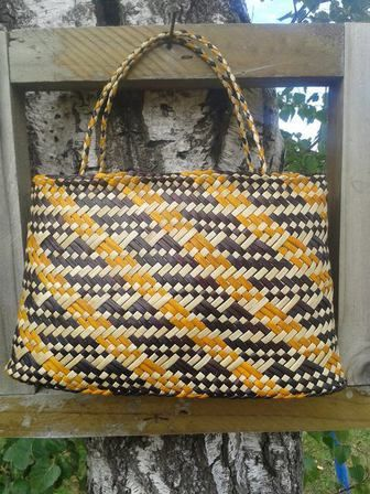 Kete Whakairo - Yellow, Maroon and Natural