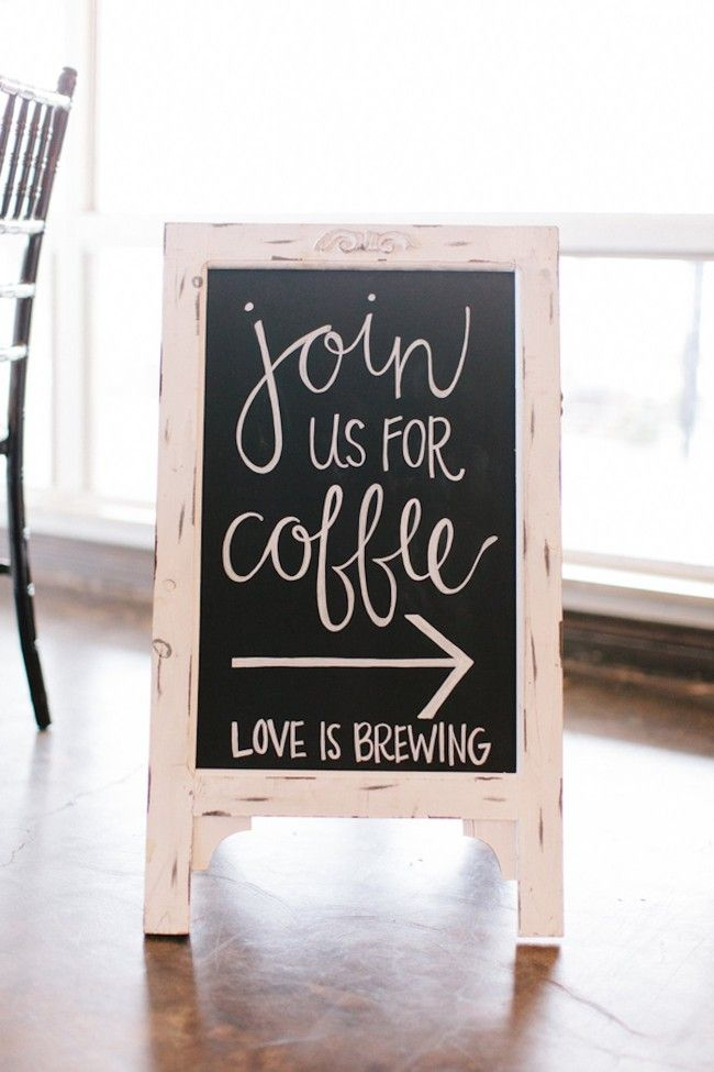 Join us for coffee - Love Is Brewing! Such a cool sign for this couple's coffee station at their winter Colorado wedding.