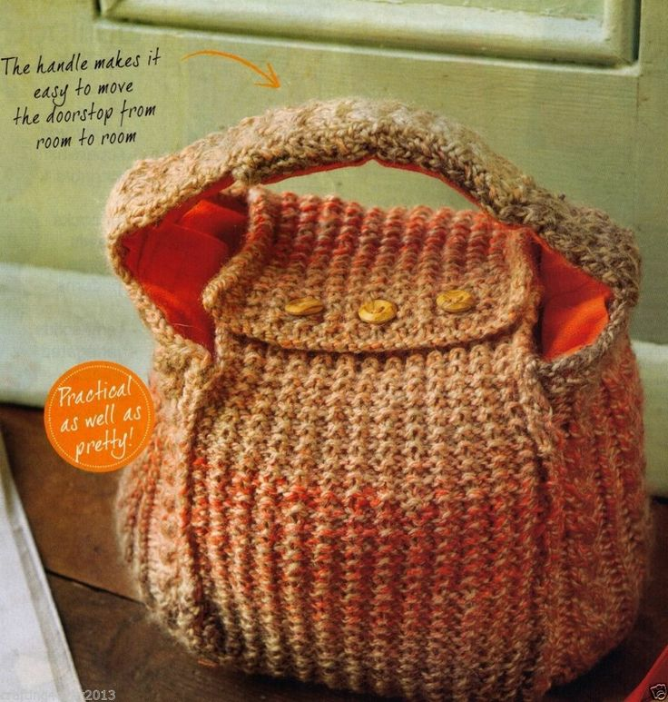 CABLE ARAN HANDBAG HANDLED DOOR STOP GReat GIFT  68 CMS TALL 8PLY KNITTING PATTERN