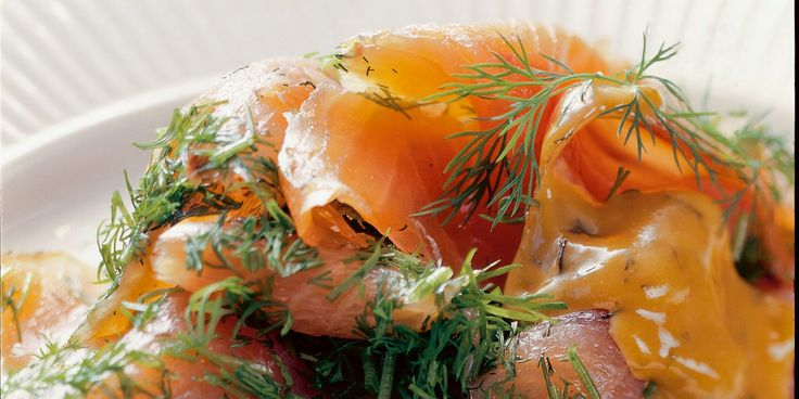 Gravlaks - Dry-cured salmon, marinated in salt, sugar and spices. The salmon is left to ferment.