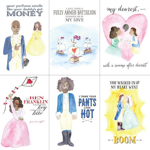 HAMILTON POSTCARDS are here! Delight and distract your loved ones with Hamiltines: Valentines Day postcards inspired by the Broadway musical