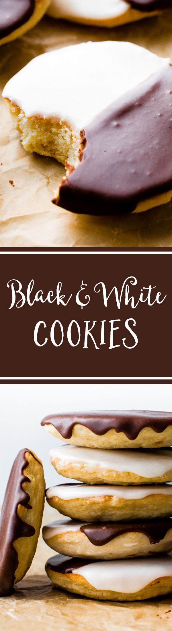 How to make New York City style Black and White Cookies! Recipe on sallysbakingaddiction.com