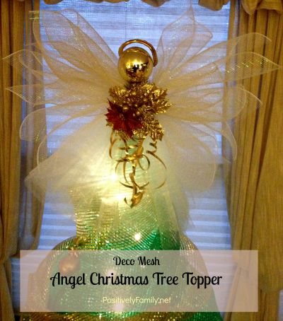 How to make a Deco Mesh Angel Christmas Tree Topper from positivelyfamily.net