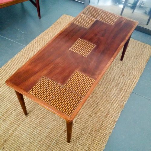 Amazing Mid-century coffee table: unusual inlay on top, spunky design, sturdy, few age blemishes R1650 includes delivery to door