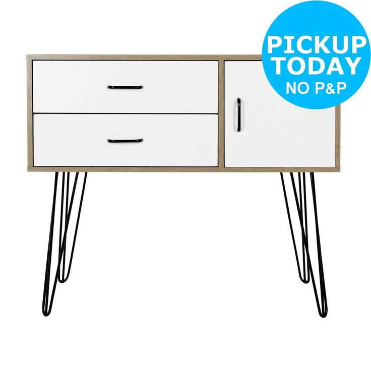 Hygena Ivy Retro 2 Drawer Small Sideboard - White -From the Argos Shop on ebay
