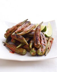 Grilled Okra with Red Curry-Lime Dressing Recipe | Okra gets charred and tender on the grill; tossing it with lime and store-bought curry paste gives it great flavor. | Grilled Vegetables, Vegetarian Curry, Three Ingredient Recipes, Thai Red Curry Paste, Extra Virgin Olive Oil, EVOO, Fresh Lime Juice, Okra, Finger Food, Appetizer, Side Dish
