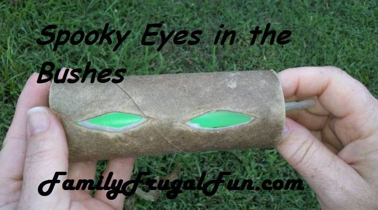 Homemade halloween props glowing eyes in your bushes for Glow sticks in toilet paper rolls