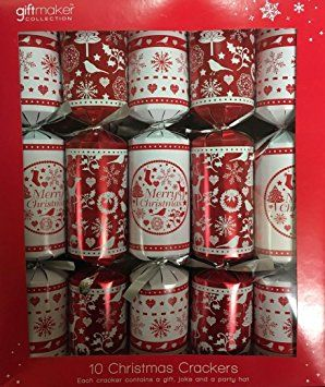 "Giftmaker Pack Of 10 Red & White Xmas Fairisle Christmas Crackers 13.5"" x 6cm"