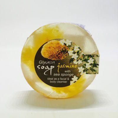 Glycerine zeep met zee- spons en jasmijn geur. Scheerzeep