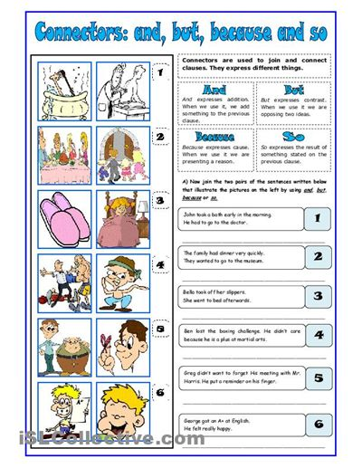Connectors: and, but, because, so worksheet - iSLCollective.com - Free ESL…