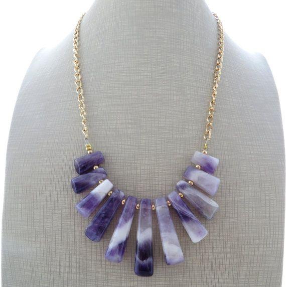 Amethyst necklace purple bib necklace statement by Sofiasbijoux