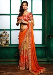 Wedding Wear Orange Georgette Embroidered Work Saree