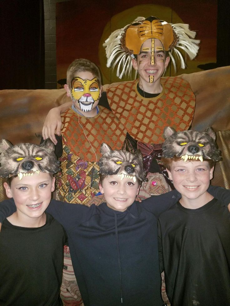 Hyenas with Young Simba & Simba. Costume creations by Costume Party MS