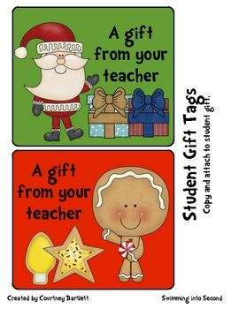 FREE Christmas/Holiday Gift Tags and Thank Yous for Students