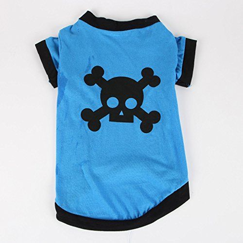 Commoditier(TM) Pet Dog Cat Cute Pirate Symbol Puppy T-Shirt Small Dog Apparel Dress Size Small - Blue Color --- DESIGNED FOR SMALL BREED DOGS - http://www.thepuppy.org/commoditiertm-pet-dog-cat-cute-pirate-symbol-puppy-t-shirt-small-dog-apparel-dress-size-small-blue-color-designed-for-small-breed-dogs/
