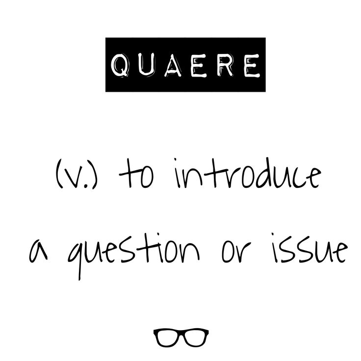 Word of the Day Quaere - v. to introduce a question or issue