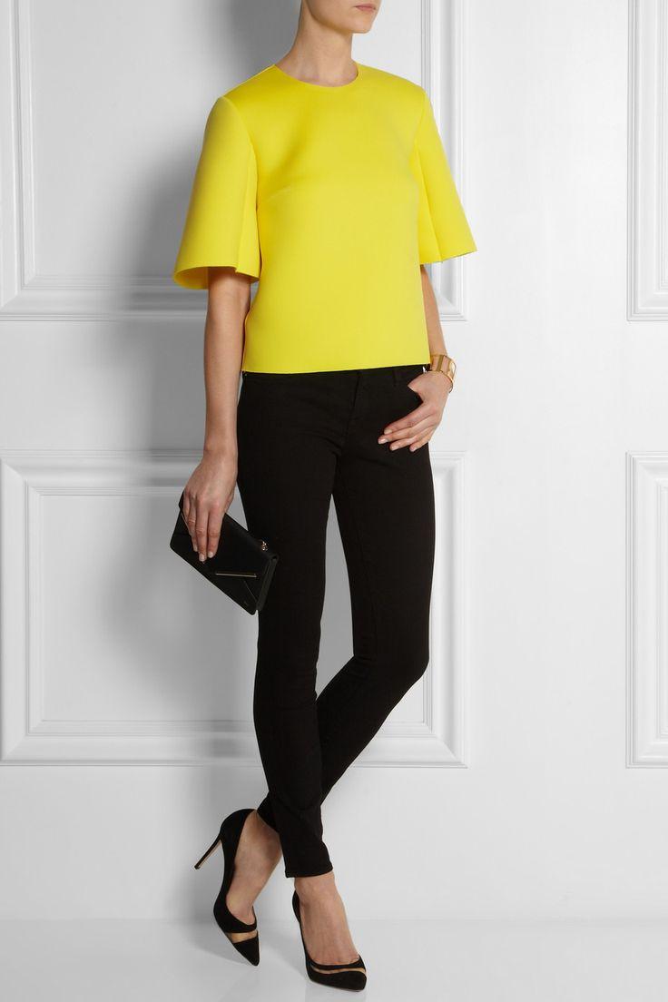 Roksanda Ilincic Stretch-neoprene top, Frame Denim jeans, Gianvito Rossi shoes, and Chloé bag.
