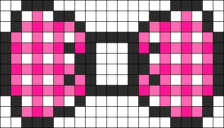 Pink Plaid Bow perler bead pattern