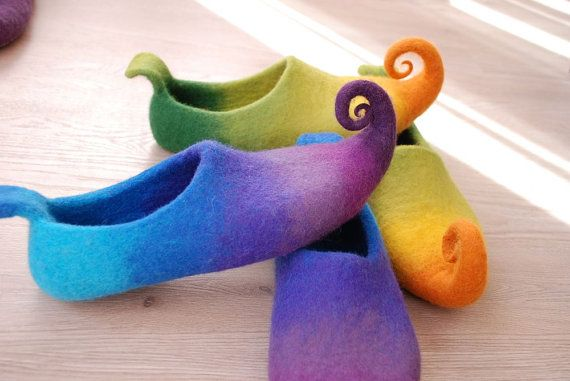 2 pairs of Fairy shoes/ felted home slippers HANDMADE by zavesfelt. $130.00, via Etsy.