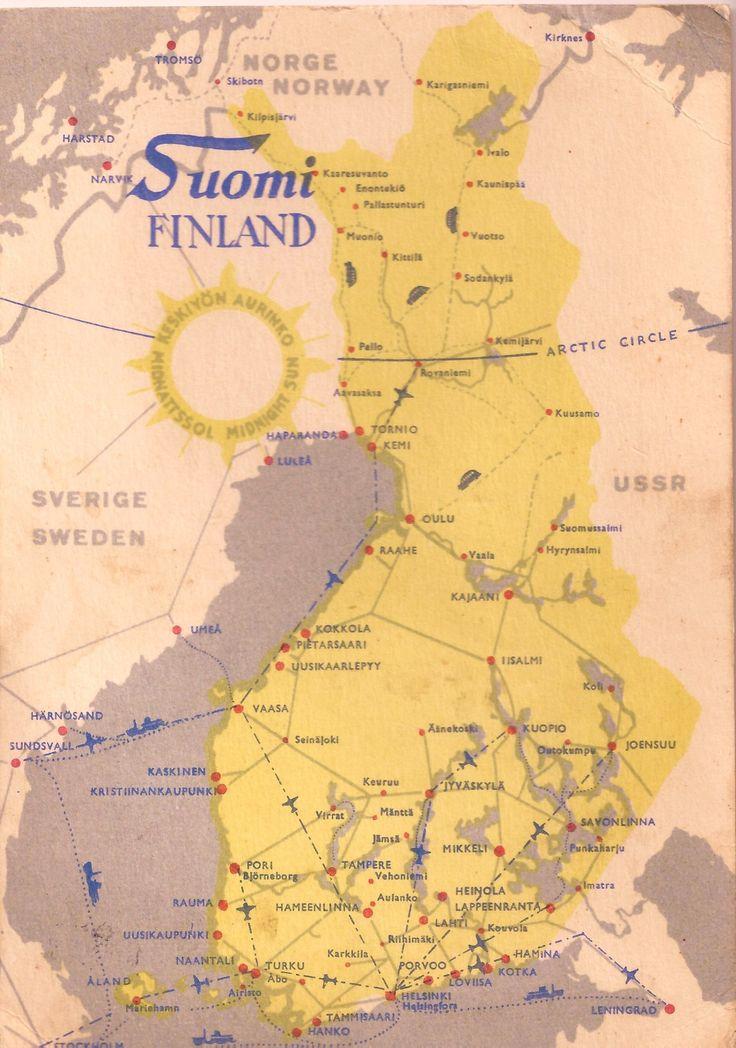 allthingsfinnish:  Suomi Midnight SunVintage map