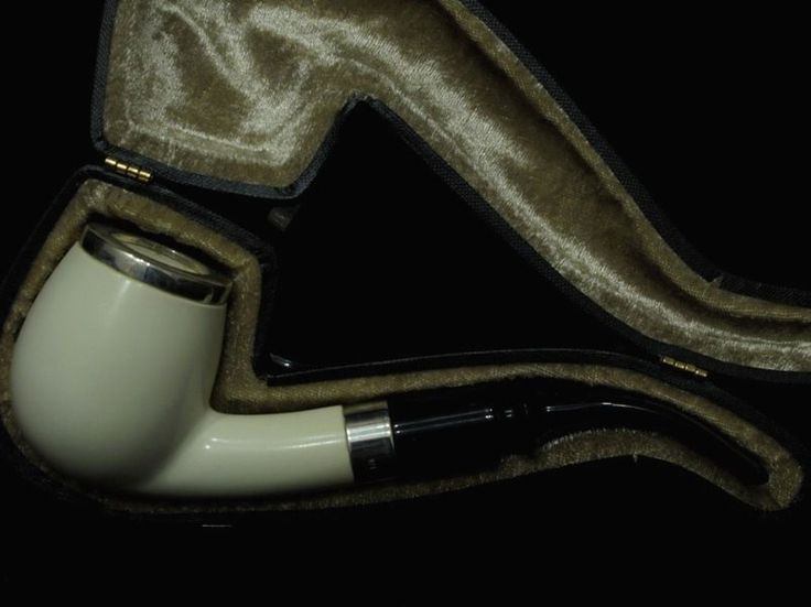 Smooth Apple Billiard Block Meerschaum pipe Acrylic 2 Silver Ring Big Bowl