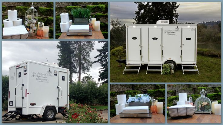 Portland oregon based outdoor restrooms. AMAZING!!!! Forget the porta potties! Check out the decor of flowers and candles! When was the last time you saw a porta potty with decor? Outdoor wedding life savers!!!!!!