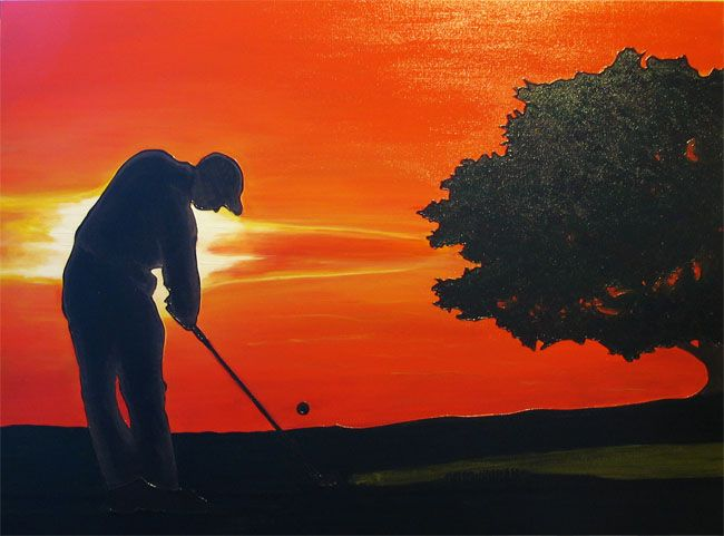 Golf at Sunset - acrylic on deep canvas