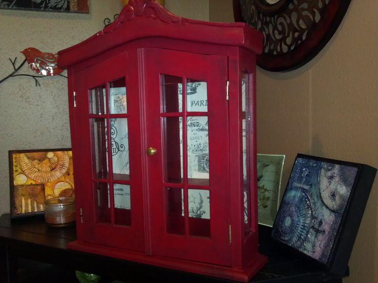 Delightful Red Curio Cabinet At Just Repurposed.
