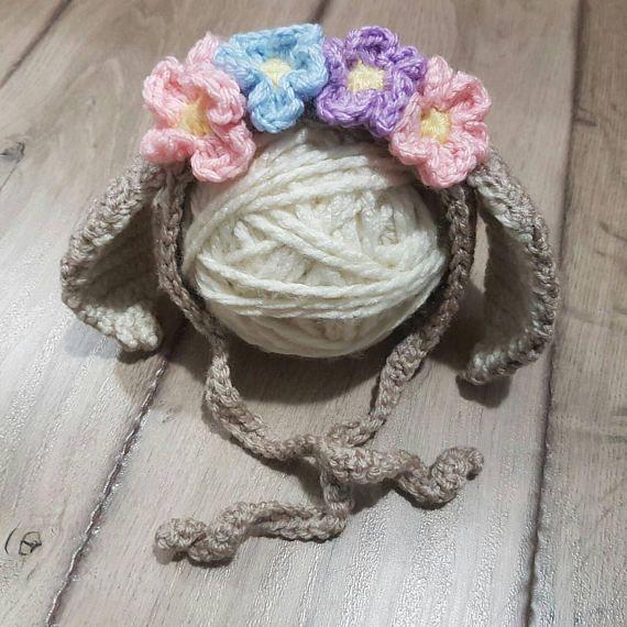 Newborn Bonnet Bunny Bonnet Bunny Hat Flower Crown Ready