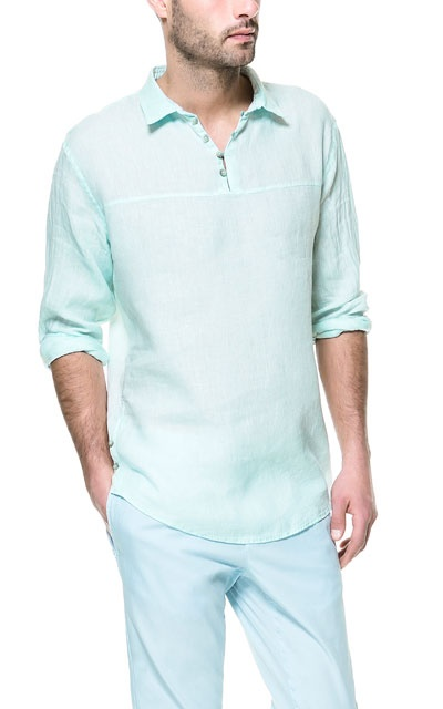 LINEN SHIRT WITH SIDE BUTTONS - Casual - Shirts - Man - ZARA India Ref. 6641/405,  2,790 INR